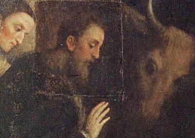 Paris Bordon, 1550 - 1560 . Adorazione dei pastori, particolare dei donatori Alvise Rover e sua moglie Aurelia Pola