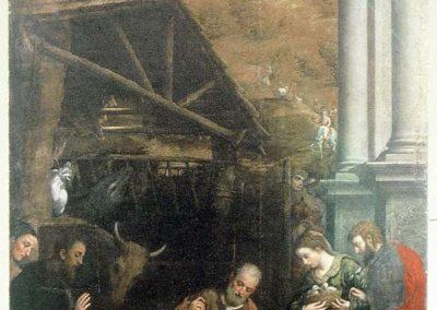 Paris Bordon, 1550 - 1560 . Adorazione dei pastori, olio su tela, cm 333 x 182 - chiesa di San Francesco (TV)