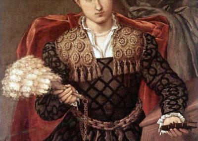 Lorenzo Lotto, 1543-44 . Ritratto di Laura da Pola, olio su tela, cm 90 x 75 - Pinacoteca di Brera (MI)
